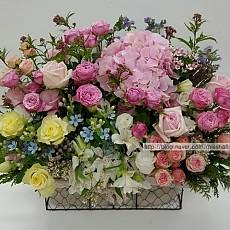 꽃바구니-핑크&옐로우 로즈(고급)